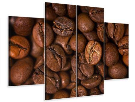 Leinwandbild 4-teilig Close Up Kaffeebohnen