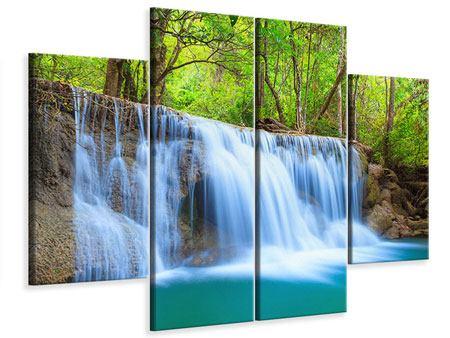 Leinwandbild 4-teilig Wasserfall Si Nakharin