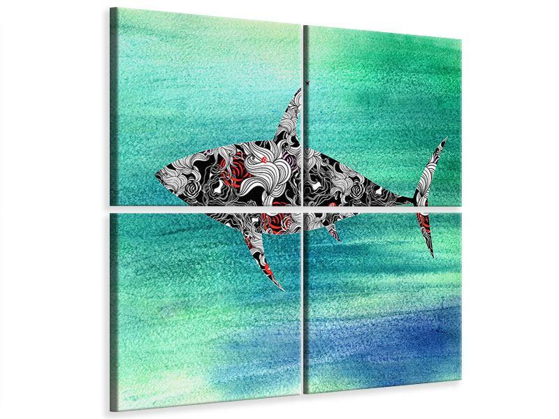 Leinwandbild 4-teilig Haifisch-Ornament