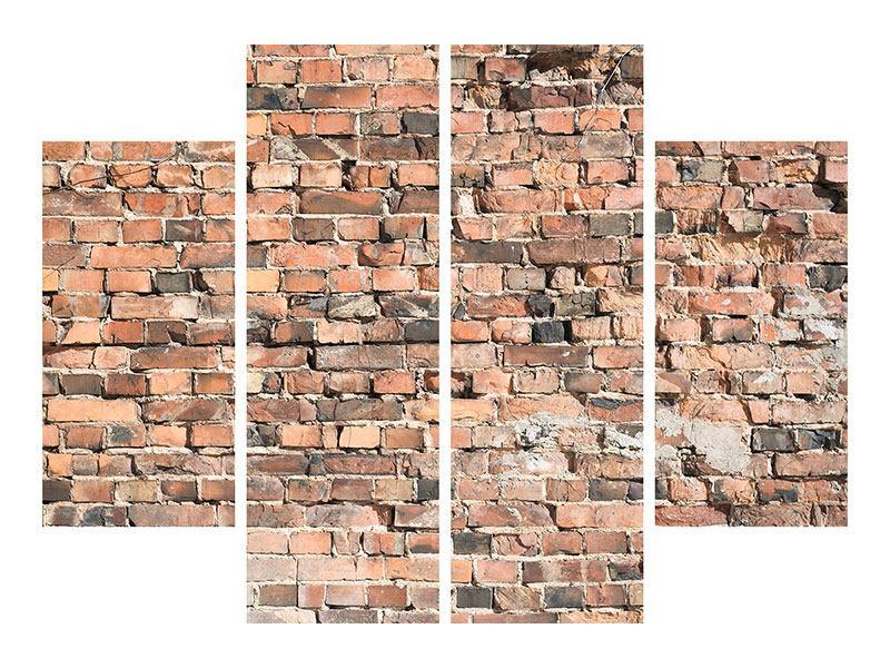Leinwandbild 4-teilig Alte Backsteinmauer