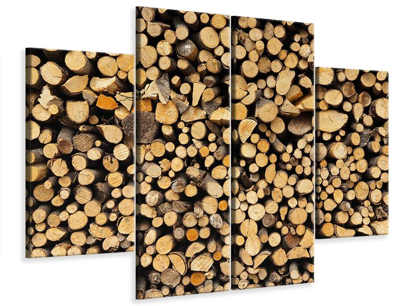 Leinwandbild 4-teilig Brennholz