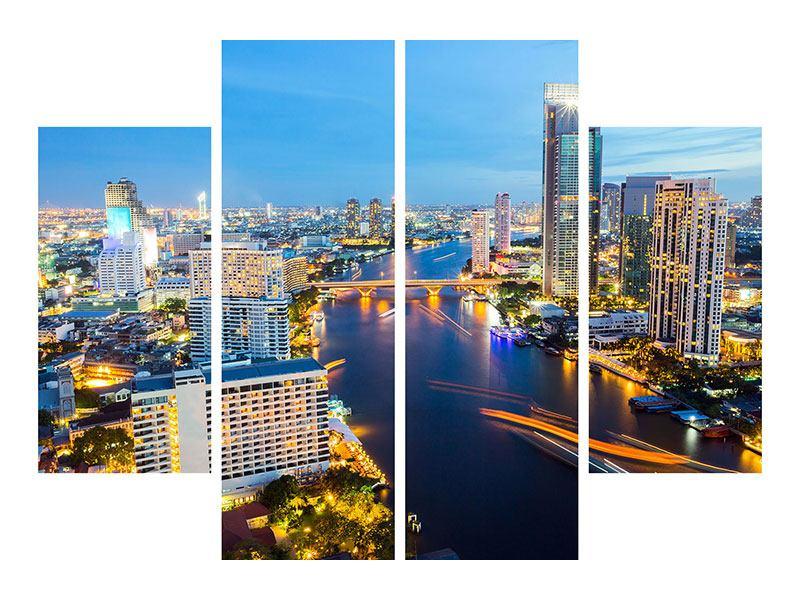 Leinwandbild 4-teilig Skyline Bangkok bei Sonnenuntergang