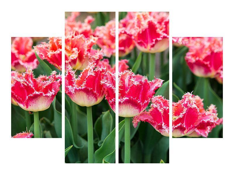Leinwandbild 4-teilig Die Tulpenwiese