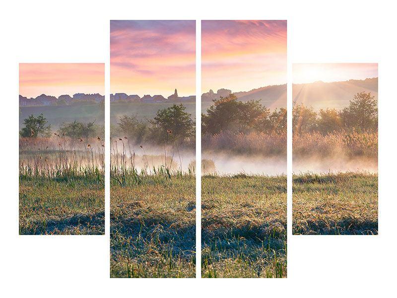 Leinwandbild 4-teilig Sonnenuntergang am Hügel