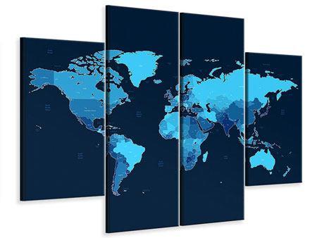 Leinwandbild 4-teilig Weltkarte