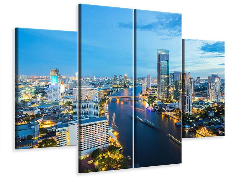 Leinwandbild 4-teilig Skyline Bangkok in der Abenddämmerung