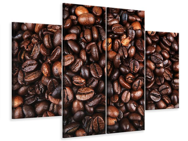 Leinwandbild 4-teilig Kaffeebohnen in XXL