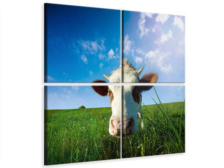 Leinwandbild 4-teilig Die Kuh