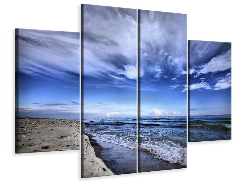 Leinwandbild 4-teilig Strandwellen