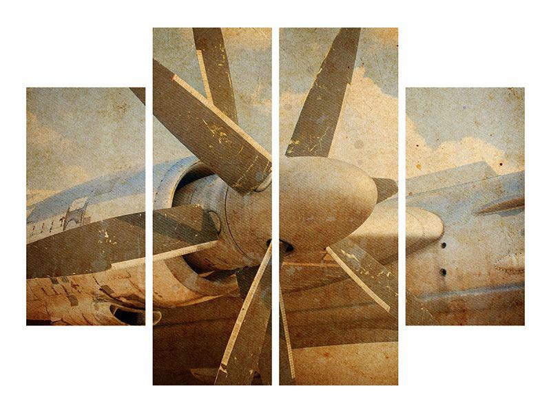 Leinwandbild 4-teilig Propellerflugzeug im Grungestil