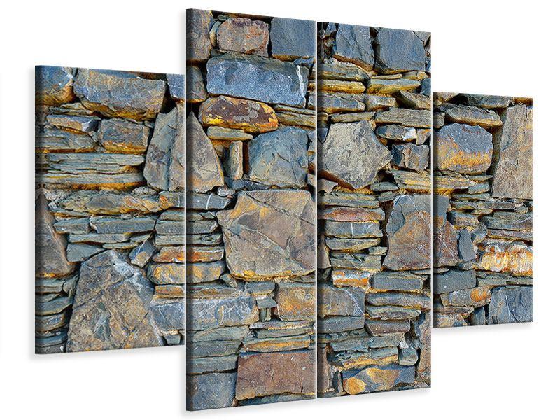 Leinwandbild 4-teilig Natürliche Steinmauer