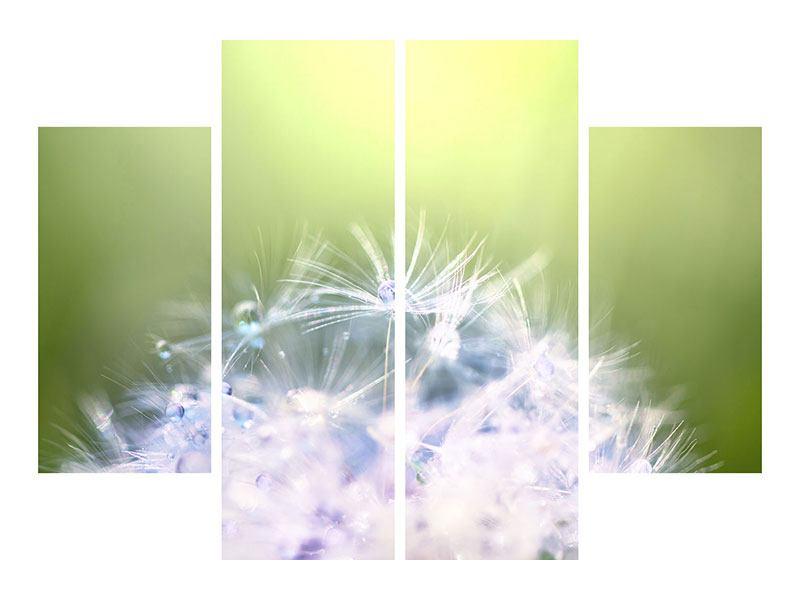 Leinwandbild 4-teilig Pusteblume XL im Morgentau