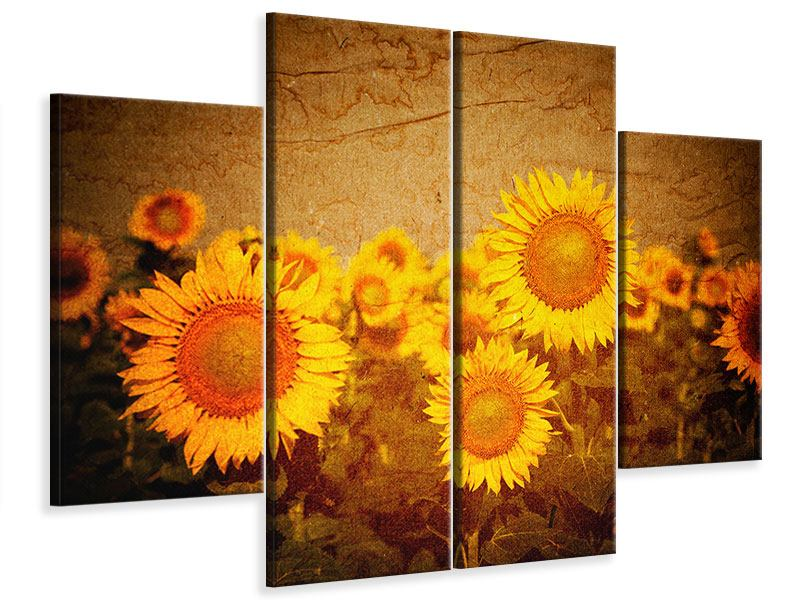 Leinwandbild 4-teilig Retro-Sonnenblumen