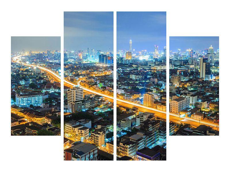 Leinwandbild 4-teilig Skyline Bangkok im Fieber der Nacht