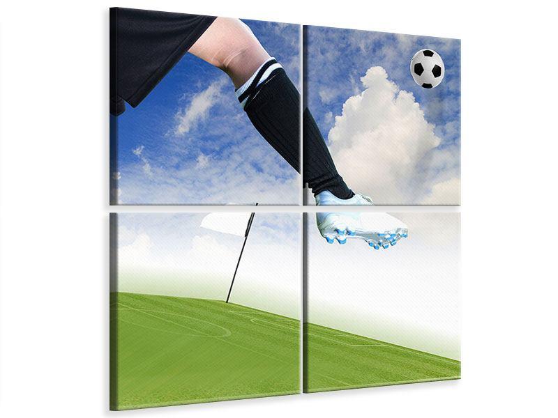 Leinwandbild 4-teilig Fussball-Kicker