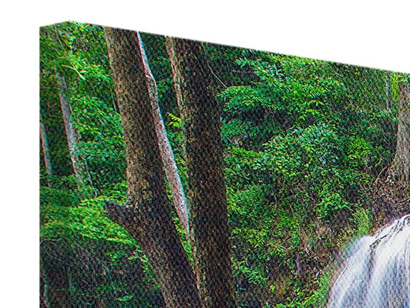 Leinwandbild 4-teilig Naturerlebnis Wasserfall