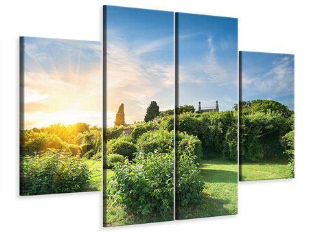 Leinwandbild 4-teilig Sonnenaufgang im Park