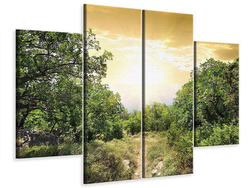 Leinwandbild 4-teilig Am Ende des Waldes