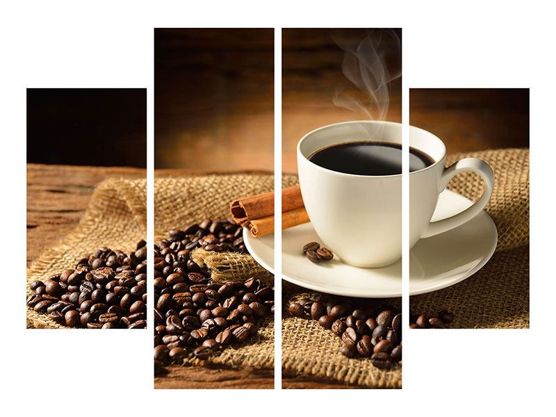 Leinwandbild 4-teilig Kaffeepause