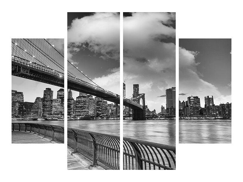 Leinwandbild 4-teilig Skyline Schwarzweissfotografie Brooklyn Bridge NY