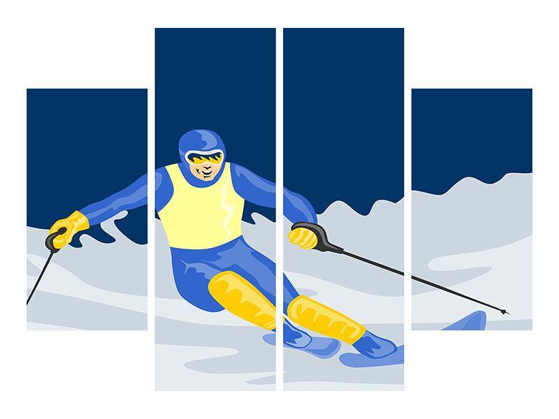 Leinwandbild 4-teilig Skifahrer im Retrostyle