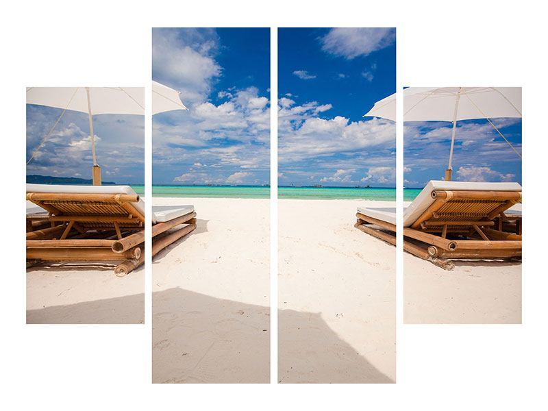 Leinwandbild 4-teilig Liegen am Strand