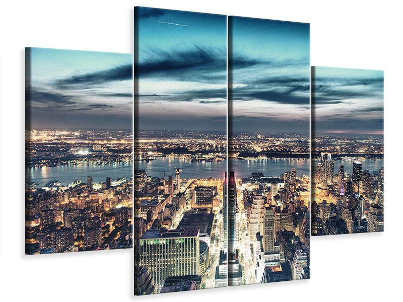 Leinwandbild 4-teilig Skyline Manhattan Citylights