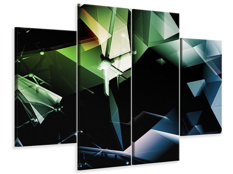 Leinwandbild 4-teilig 3D-Polygon
