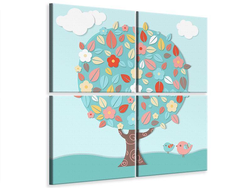 Leinwandbild 4-teilig Der Kinderzimmer Baum