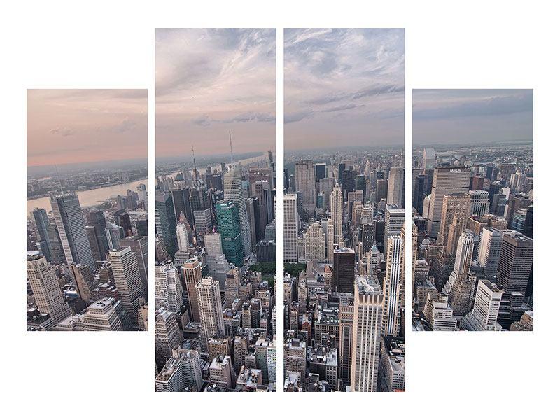 Leinwandbild 4-teilig Skyline Blick über Manhattan