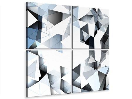 Leinwandbild 4-teilig 3D-Kristalle