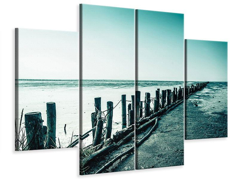 Leinwandbild 4-teilig Das Wattenmeer