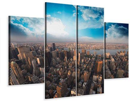 Leinwandbild 4-teilig Skyline Über den Dächern von Manhattan