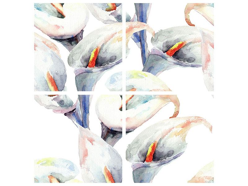 Leinwandbild 4-teilig Lilien Aquarell