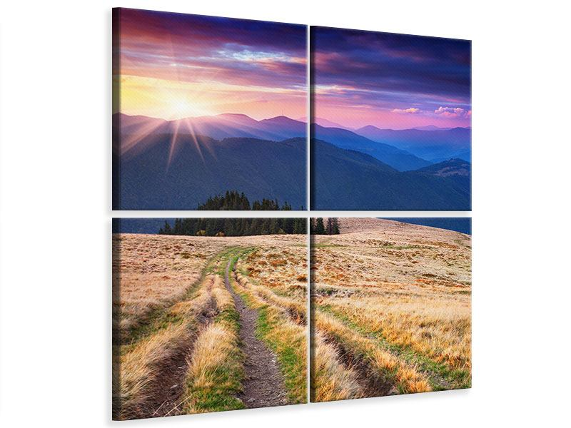 Leinwandbild 4-teilig Sonnenuntergang in der Bergwelt