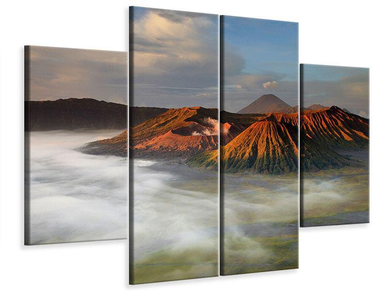 Leinwandbild 4-teilig Der Bromo Vulkan