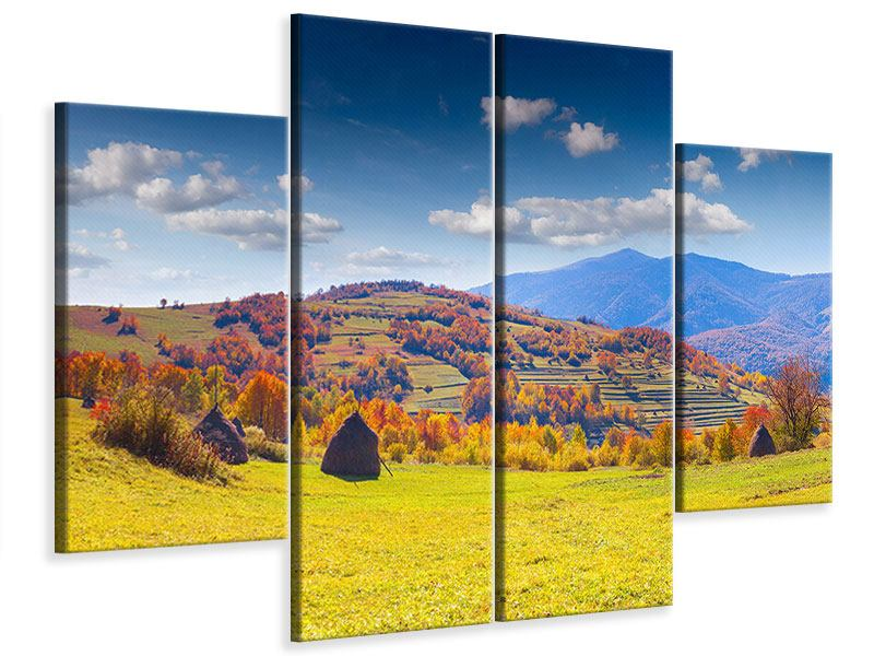 Leinwandbild 4-teilig Herbstliche Berglandschaft