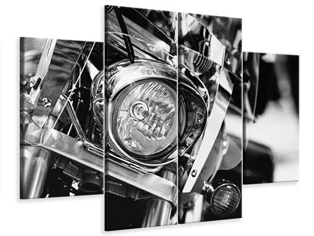 Leinwandbild 4-teilig Motorrad Close Up