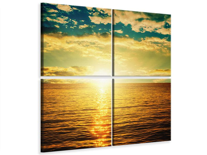 Leinwandbild 4-teilig Sonnenuntergang am Meereshorizont