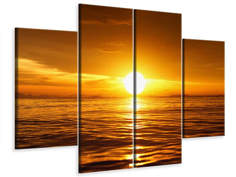 Leinwandbild 4-teilig Glühender Sonnenuntergang am Wasser