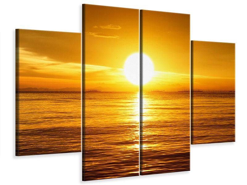 Leinwandbild 4-teilig Traumhafter Sonnenuntergang