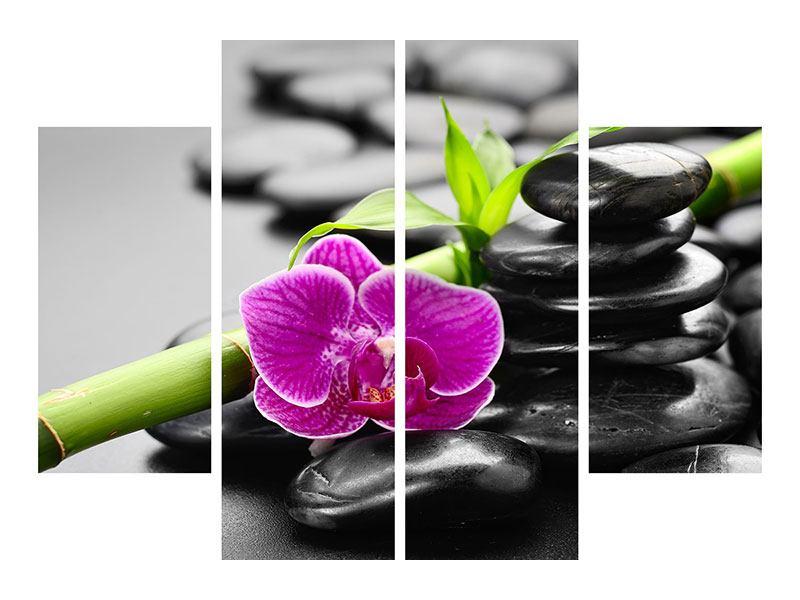 Leinwandbild 4-teilig Feng-Shui-Orchidee