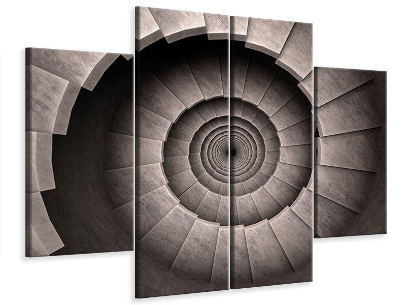 Leinwandbild 4-teilig Steinwendeltreppe