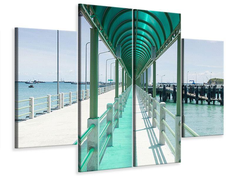 Leinwandbild 4-teilig Die Brücke am Meer