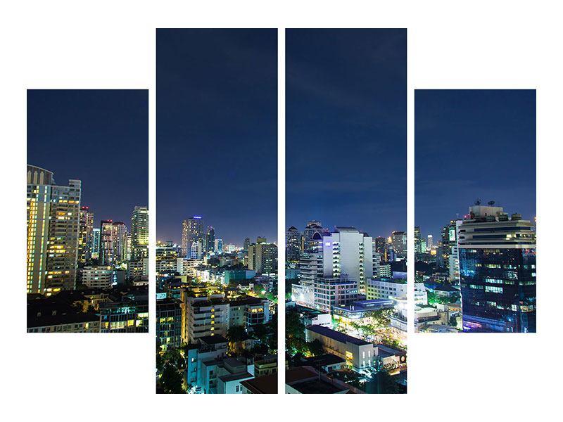 Leinwandbild 4-teilig Skyline Nachts in Bangkok