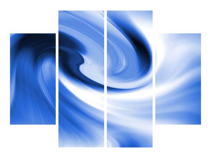 Leinwandbild 4-teilig Abstrakte blaue Welle