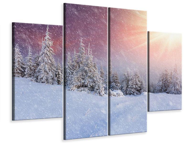Leinwandbild 4-teilig Mystischer Schneesturm