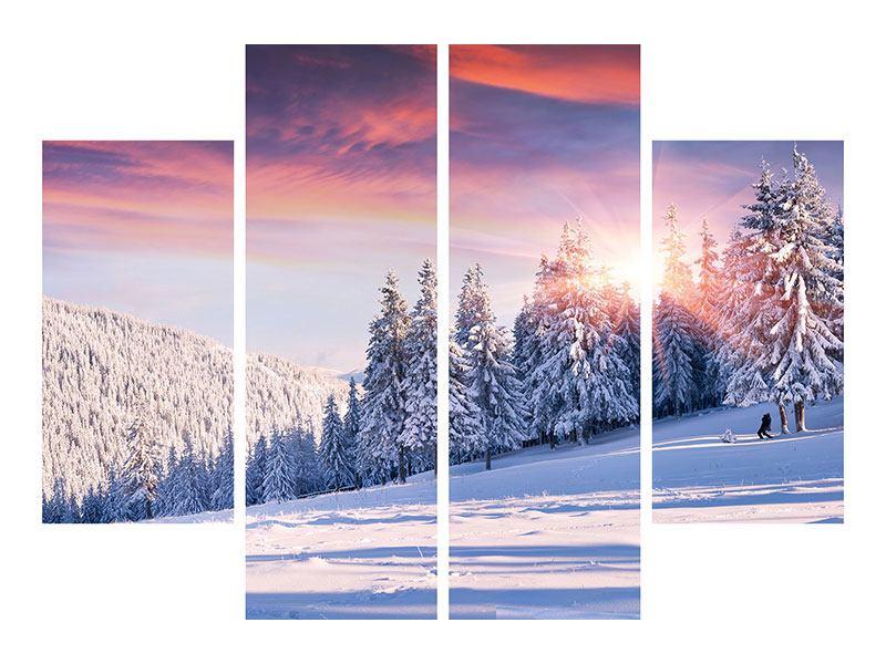 Leinwandbild 4-teilig Winterlandschaft