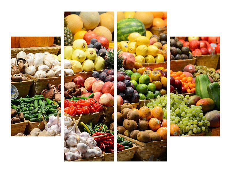 Leinwandbild 4-teilig Obstmarkt