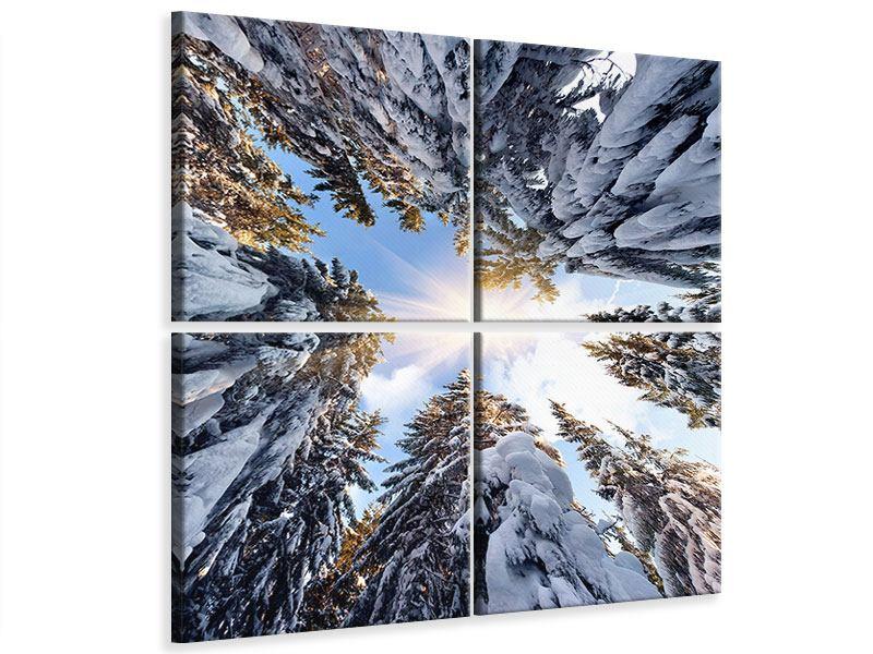 Leinwandbild 4-teilig Verschneite Tannenspitzen in der Sonne